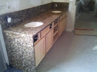 Giallo Portofino Granite Vanity with Built in Side-Wall
