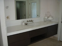 Caesarstone Blizzard Floating Bathroom Vanity with 3-inch Square Edge