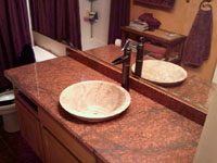 Red Dragon Granite with Granite Sink Bowl Inset into the Stone